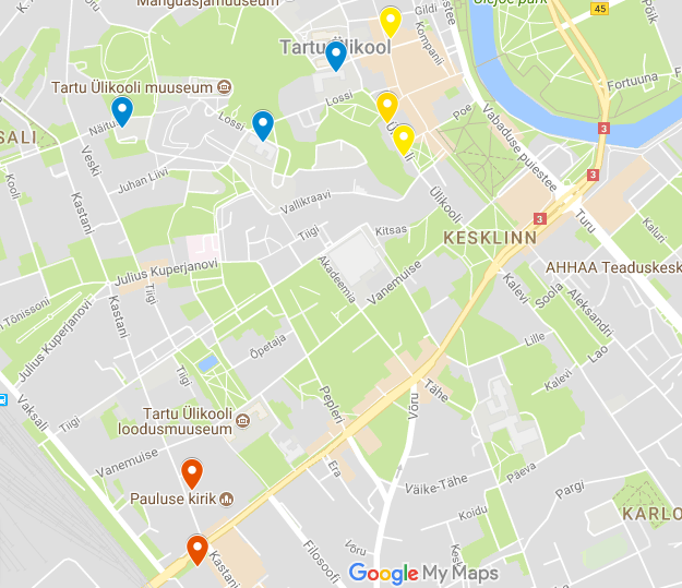 Preview of the google map of relevant places